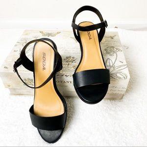 Soda Black Open Toe Strappy Heeled Sandals